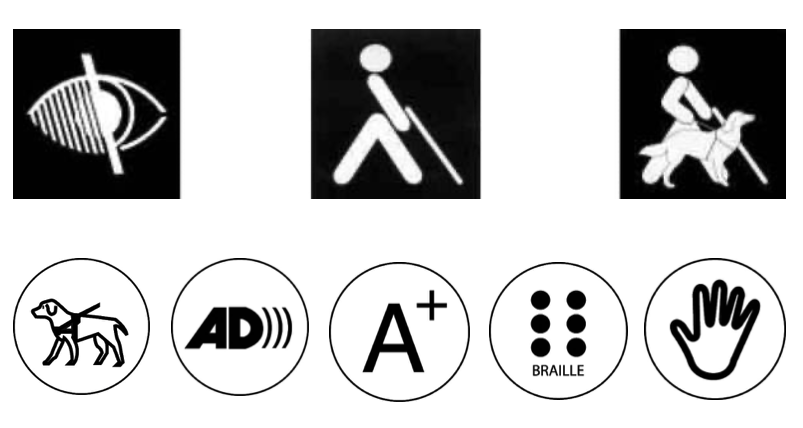 Accessibility pictograms related to blindness. From left to right and from top to bottom: indicators of services for people with low vision, blind people using a cane, blind people accompanied by a guide dog, guide dogs welcome, information with audio description, large print elements, or optical aids, elements in Braille, tactile elements.