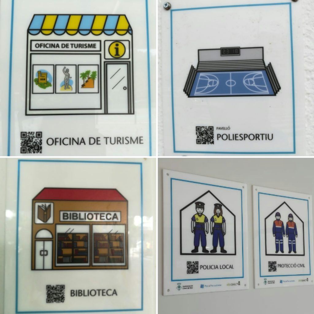A selection of some of the pictograms installed in Lloret. In this case, they indicate the Tourist Office, the sports center, the library and the local police and civil protection offices. Images by Lloret Turisme.